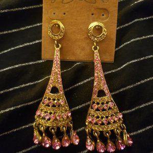 Pink Zircon Crystal Eiffel Tower Gold Earrings